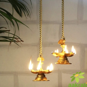 Hanging & Table Brass Diya | Oil Lamp | Home Decor | Diya, Deepak, Deepam (Peacock Diya Pair) with Chain
