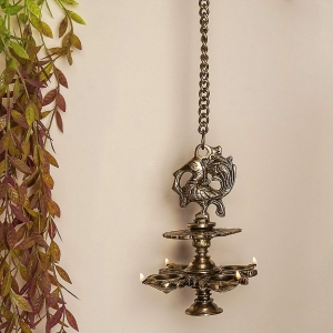 Aakrati Hanging Bird Diya mad in Brass with 4 Deepak- Antique Finish Home Decor Oil lamp
