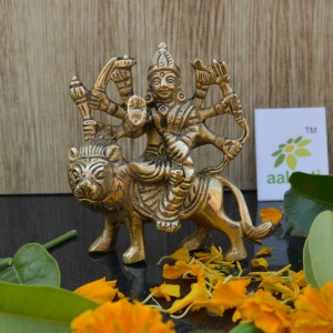 Aakrati Brass Sculptures and Statues Durga Idol Religious Hindu Home D�cor 3 Inches