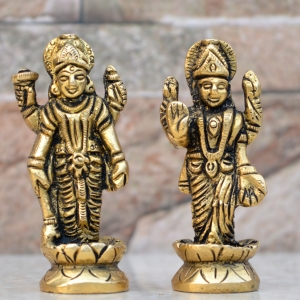 Vishnu Laxmi Brass Idol Statue for Home Decoration Showpiece and Temple Worship