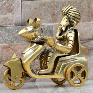 Ganesh Ji Sitting on Morden Cart Statue