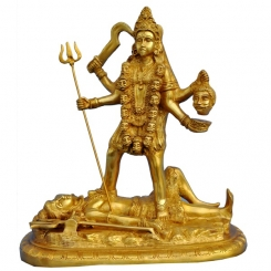 Brass Hand Carved Statue of Supreme Goddess Maa Kali-Goddess of Death & Destruction