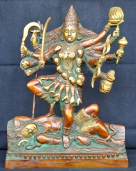 Brass Antique finish Hand Carved Statue of Supreme Goddess Maa Kali-Goddess of Death & Destruction
