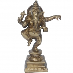 Dancing & enjoying Lord Ganesha- A decorative Statue in Brass for gift & decorative purpose