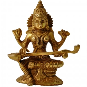 Goddess Saraswati Brass Metal Hand Carved Statue - The Goddess of Art & Knowledge