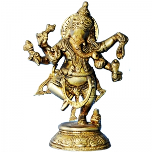 Lord Ganesha Dancing Brass statue for Gift & Decore