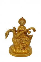 Goddess Saraswati designer statue for fortune made of brass metal