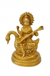 Goddess Saraswati brass metal designer statue for fortune