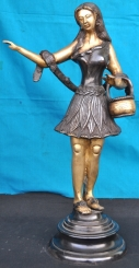 Stylish Standing Girl Holding A Basket-A Brass figurine