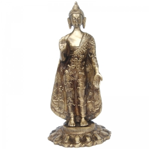 Lord Buddha standing statue made of brass