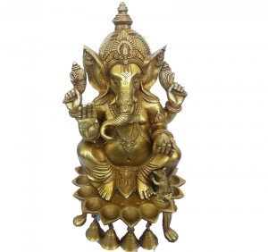 Lord Ganesha Figure oil lamp use in temple